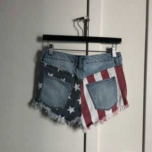 Mossimo Supply Co. Shorts - Flag Print Distressed Shorts